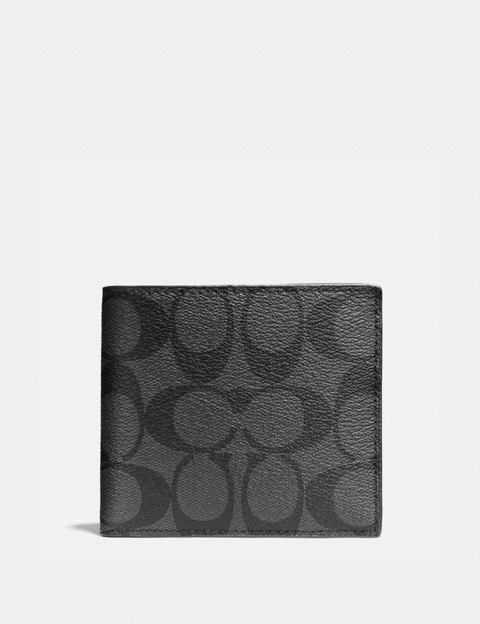 Coach Double Billfold Wallet in Signature Canvas Charcoal/Black