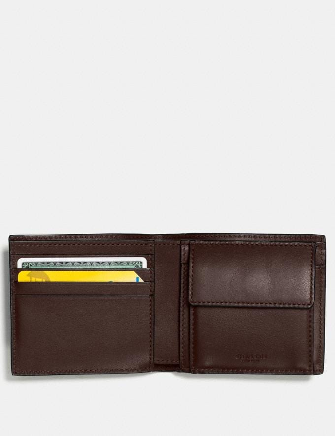 Coach Coin Wallet in Signature Leather Mahogany Men Wallets Alternate View 1