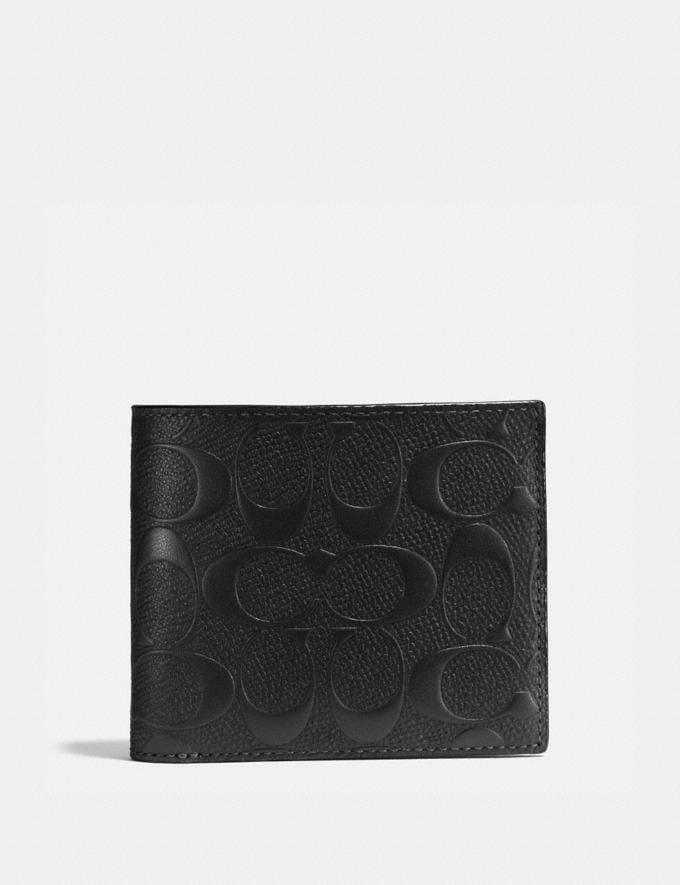 Coach Compact Id Wallet in Signature Leather Black