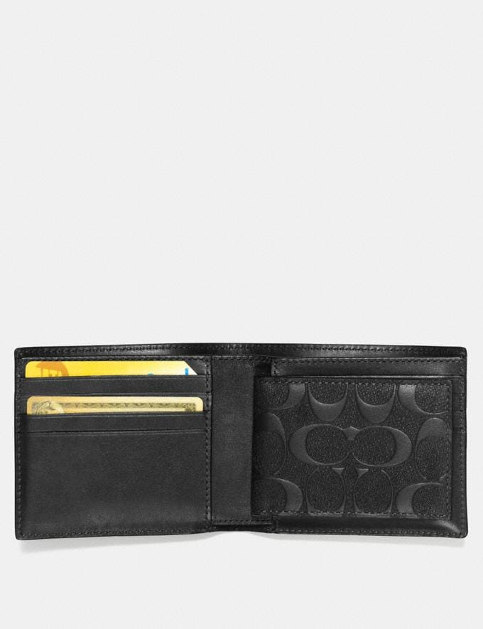 Coach Compact Id Wallet in Signature Leather Black  Alternate View 1