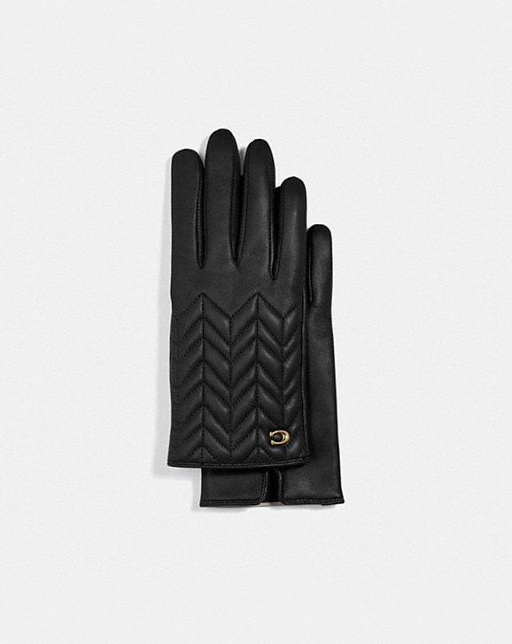 Coach SCULPTED SIGNATURE QUILTED LEATHER TECH GLOVES