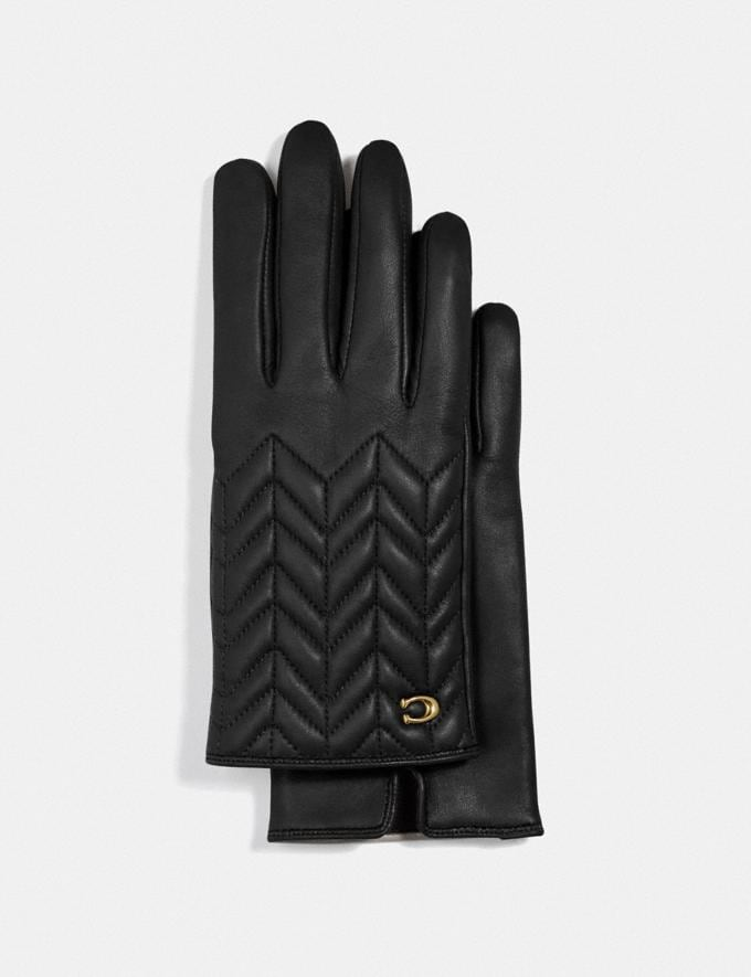 Coach Sculpted Signature Quilted Leather Tech Gloves Grey Birch