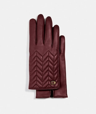 SCULPTED SIGNATURE QUILTED LEATHER TECH GLOVES