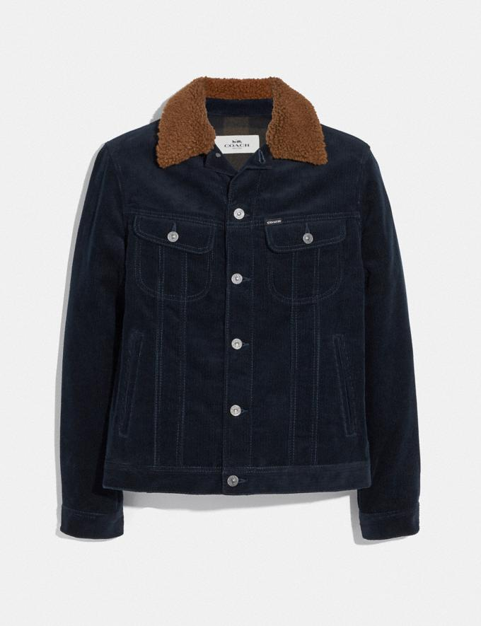Coach Corduroy Jacket With Shearling Collar Navy