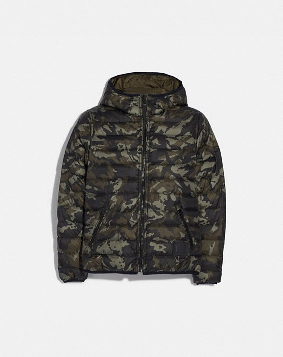 Coach REVERSIBLE DOWN JACKET WITH HOOD