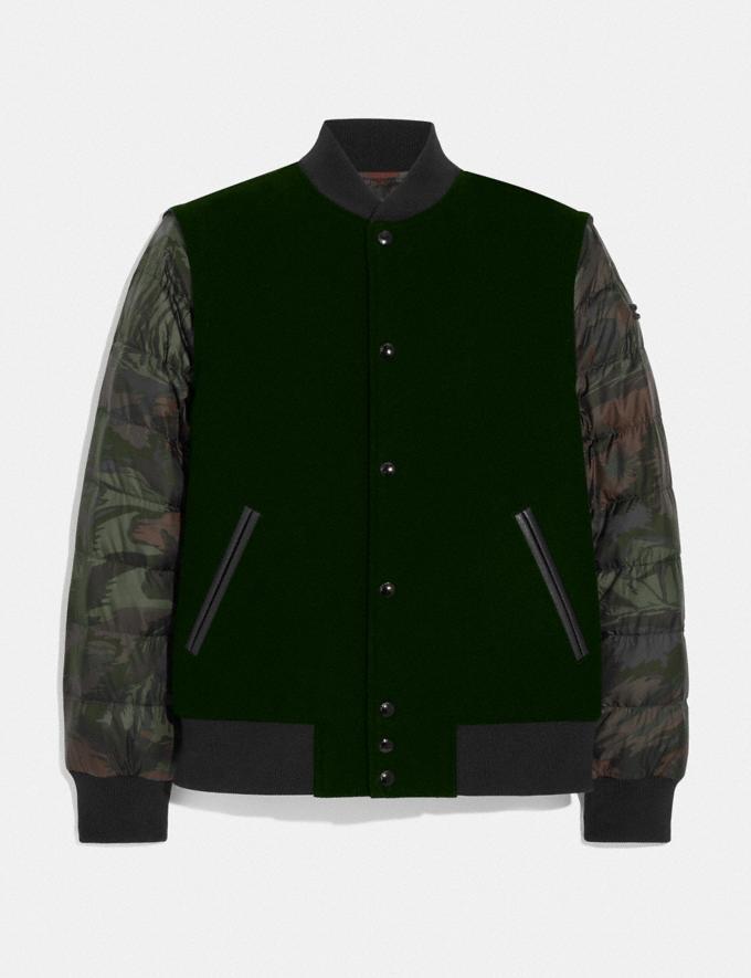 Coach Puffer Varsity Jacket Dark Moss