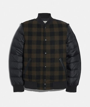 PLAID PUFFER VARSITY JACKET