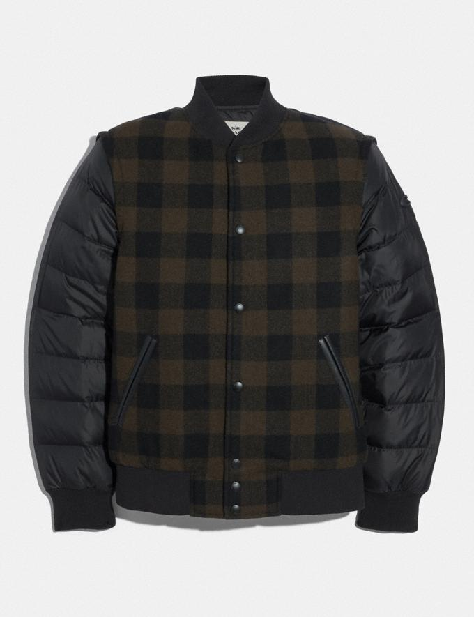 Coach Plaid Puffer Varsity Jacket Green Plaid