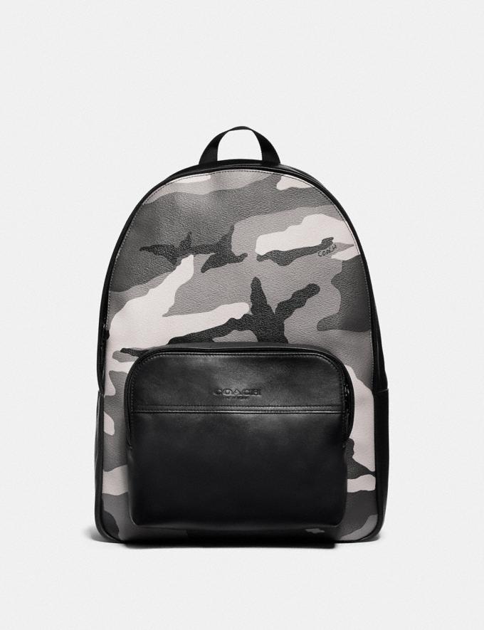 Coach Houston Backpack With Camo Print Black Antique Nickel/Black Multi Explore Men Explore Men New Arrivals