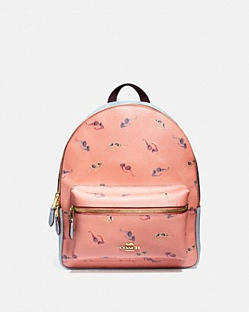 MEDIUM CHARLIE BACKPACK WITH SUNGLASSES PRINT