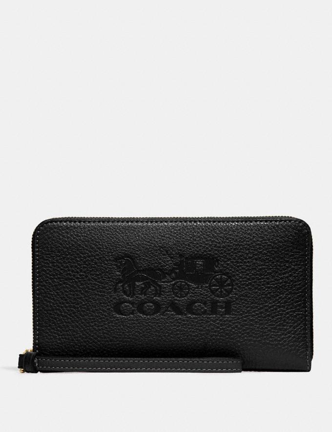 Coach Jes Large Phone Wallet Black/Gold Explore Women Explore Women Wallets