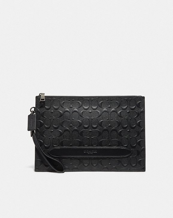 Coach STRUCTURED POUCH IN SIGNATURE LEATHER