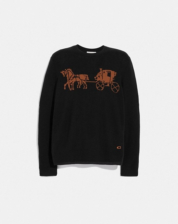 Coach INTARSIA HORSE AND CARRIAGE SWEATER