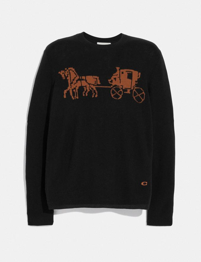 Coach Intarsia Horse and Carriage Sweater Black