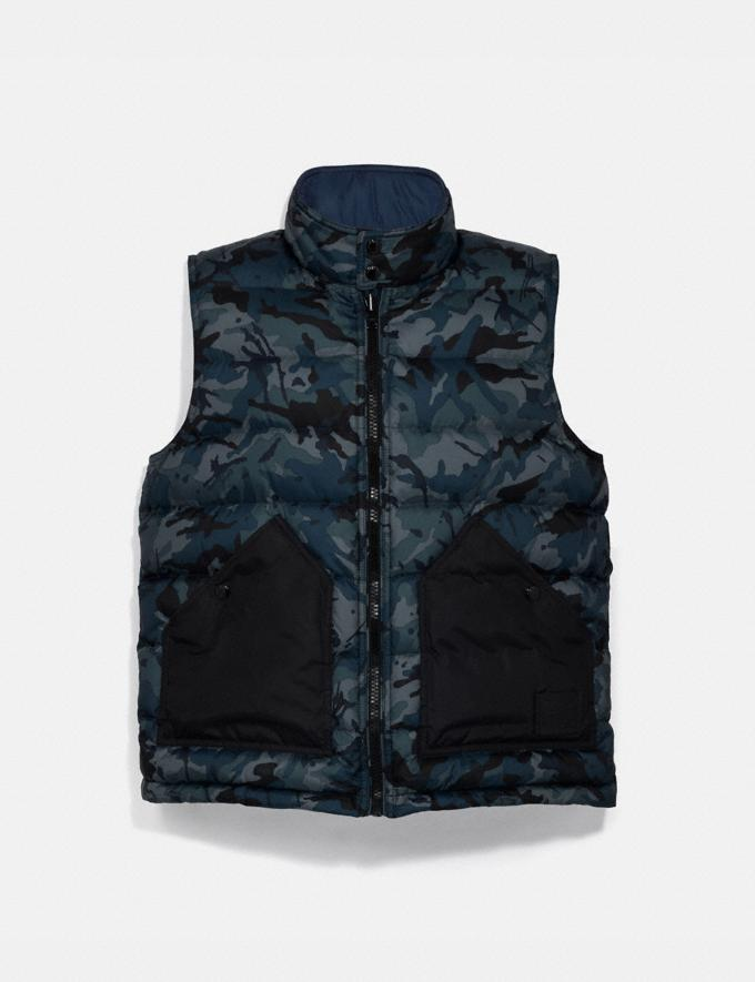 Coach Reversible Down Vest Blue Multi Camo/Ocean Blue  Alternate View 1