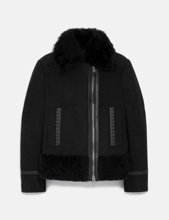 Coach Wool Shearling Coat Black
