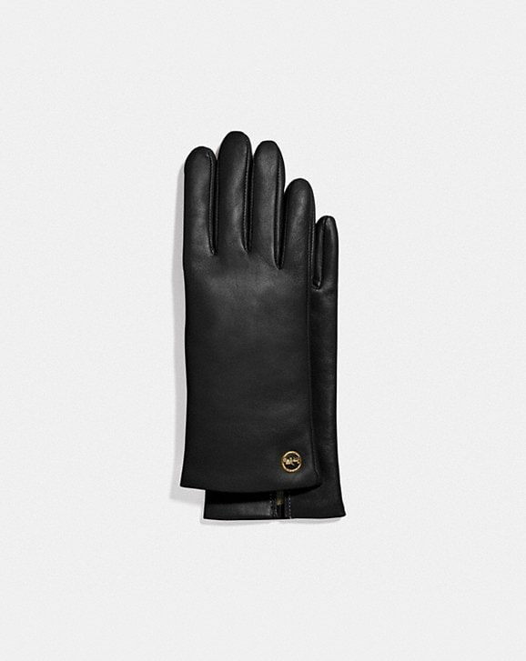 Coach HORSE AND CARRIAGE PLAQUE LEATHER TECH GLOVES
