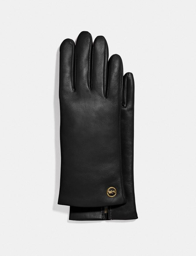 Coach Horse and Carriage Plaque Leather Tech Gloves Black