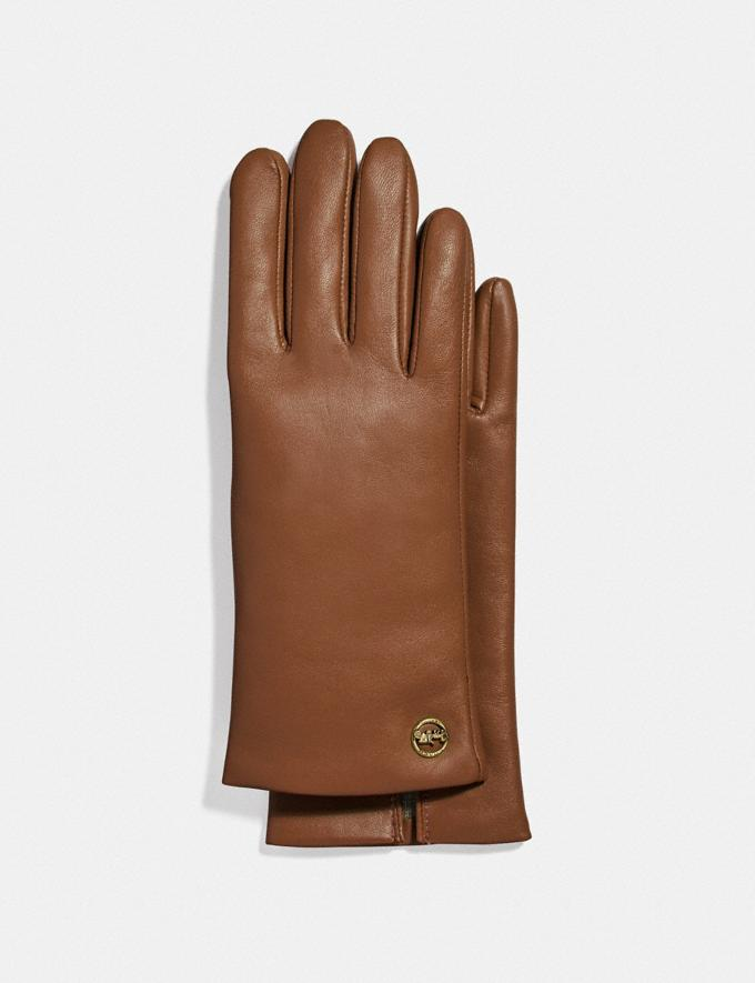 Coach Horse and Carriage Plaque Leather Tech Gloves Saddle Women Apparel