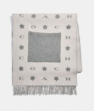 COACH STARS OVERSIZED MUFFLER WITH POCKETS