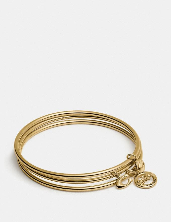 Coach Horse and Carriage Bangle Set Chalk/Gold