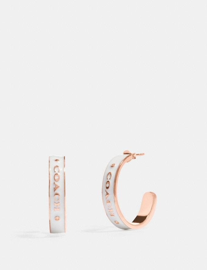 Coach Coach Plaque Hoop Earrings Chalk/Rosegold