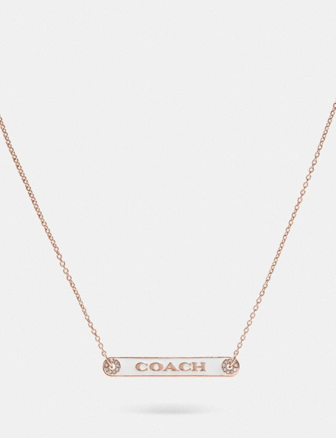 Coach Coach Plaque Necklace Chalk/Rosegold
