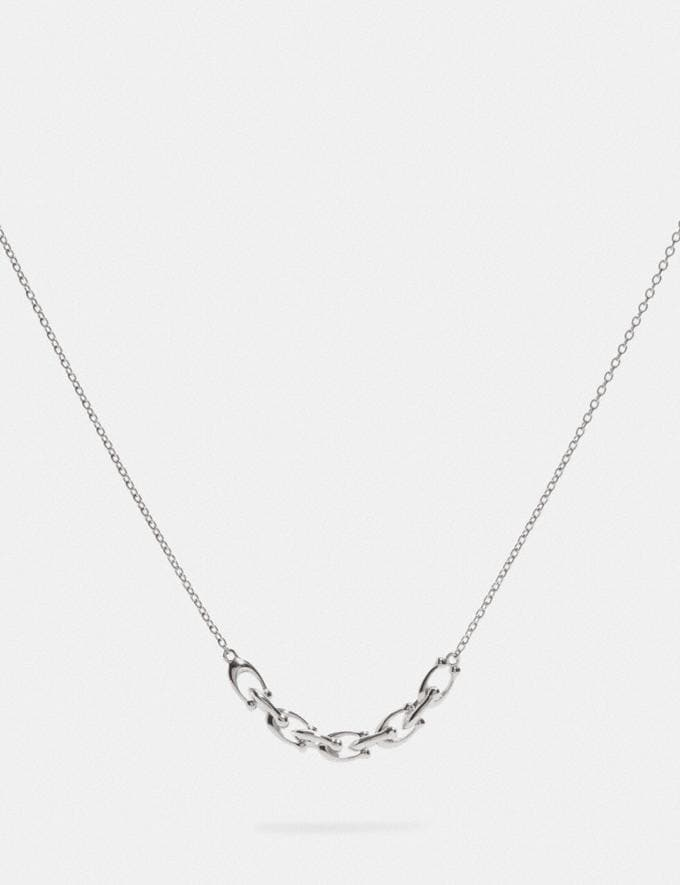 Coach Signature Link Necklace Silver