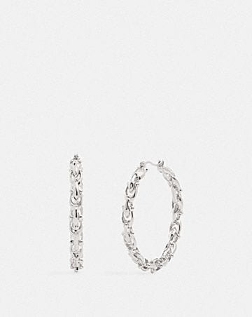 SIGNATURE LINK HOOP EARRINGS