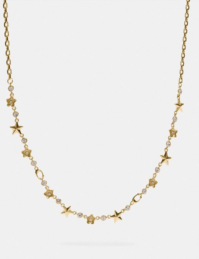 Coach Floral Star Necklace Gold