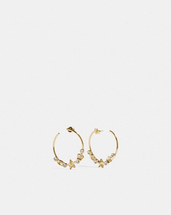 Coach FLORAL STAR HOOP EARRINGS