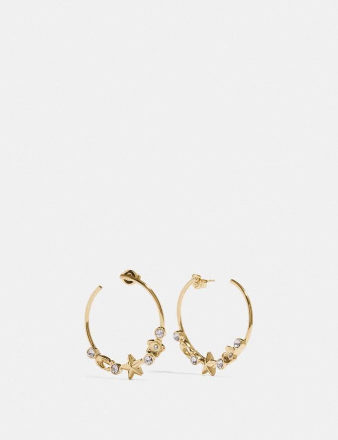 Coach Floral Star Hoop Earrings Gold