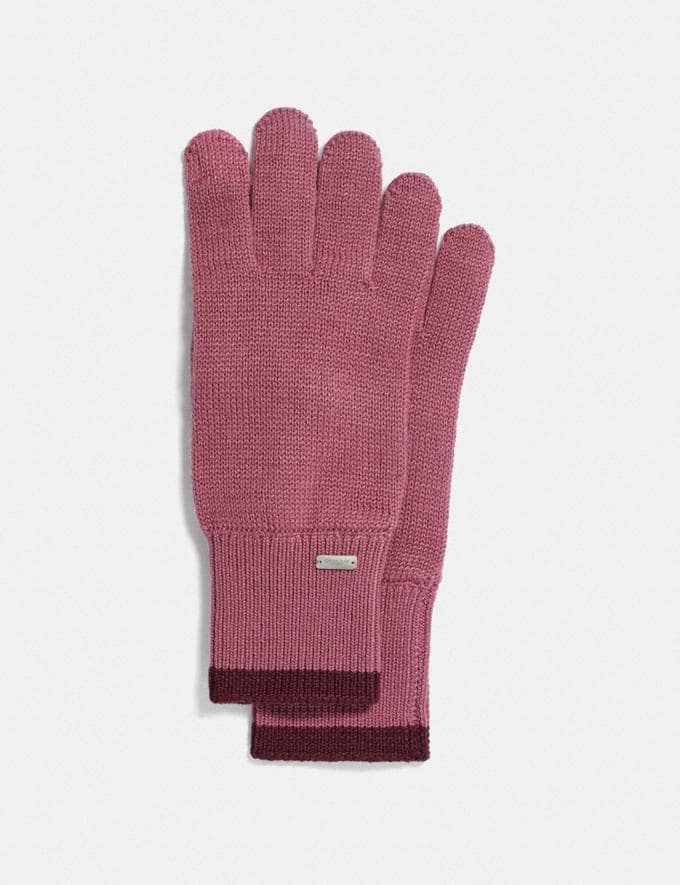 Coach Colorblocked Knit Tech Gloves Pink