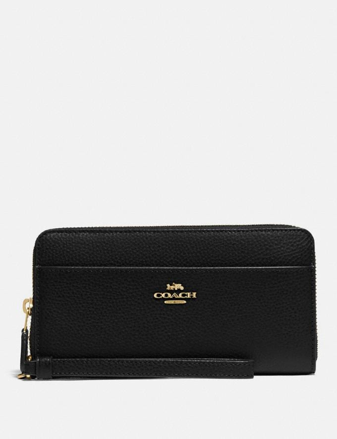 Coach Accordion Zip Wallet Black/Gold