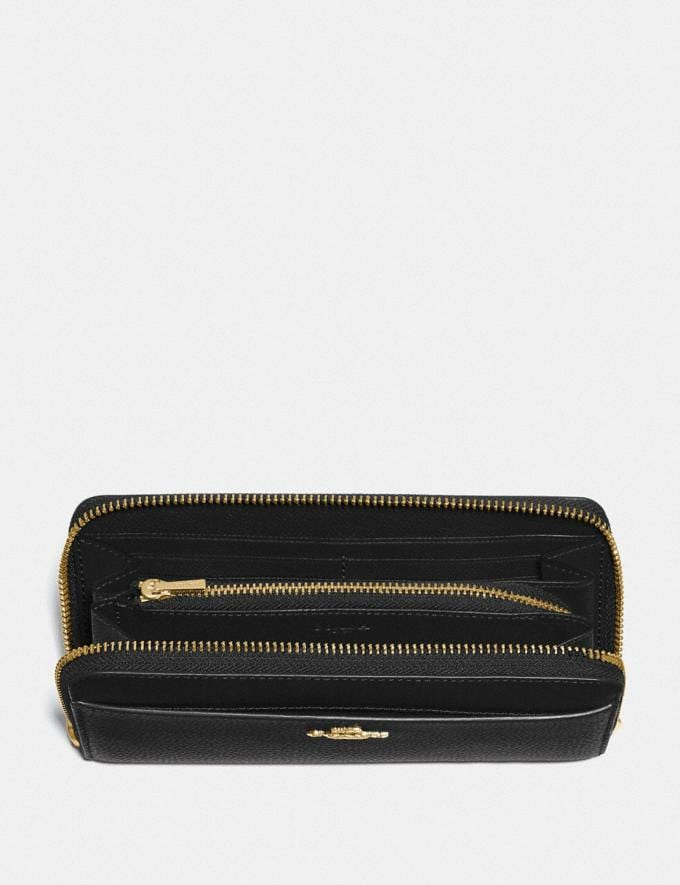Coach Accordion Zip Wallet Black/Gold  Alternate View 1