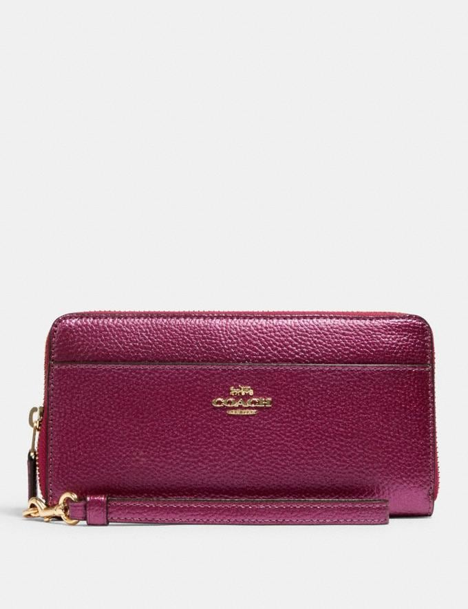 Coach Accordion Zip Wallet Im/Metallic Berry Accessories Wallets