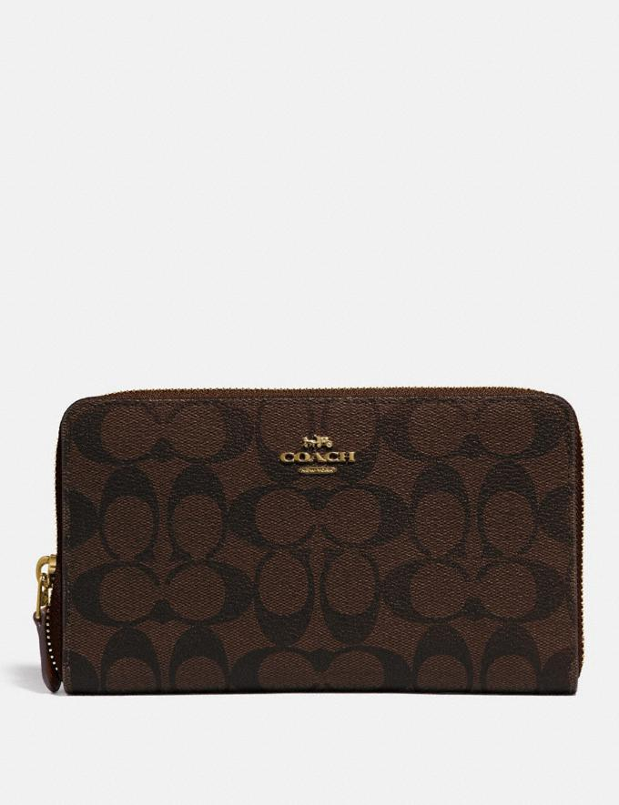 Coach Continental Zip Around Wallet in Signature Canvas Brown/Black/Gold Women Wallets