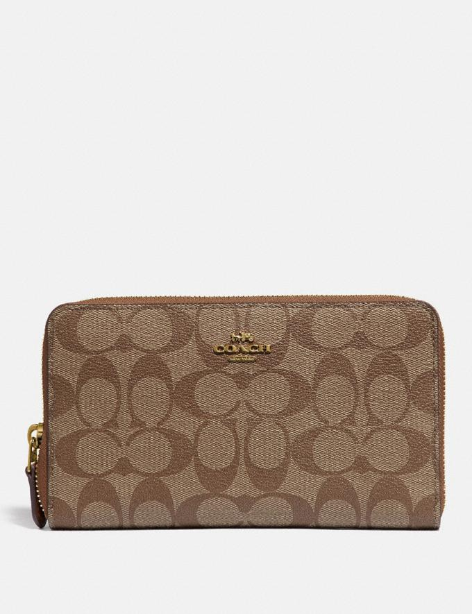 Coach Continental Zip Around Wallet in Signature Canvas Khaki/Saddle 2/Gold Accessories