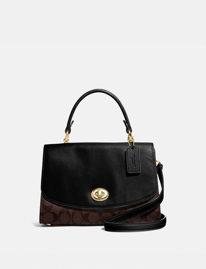 Coach Tilly Top Handle Satchel With Signature Canvas Brown/Black/Gold