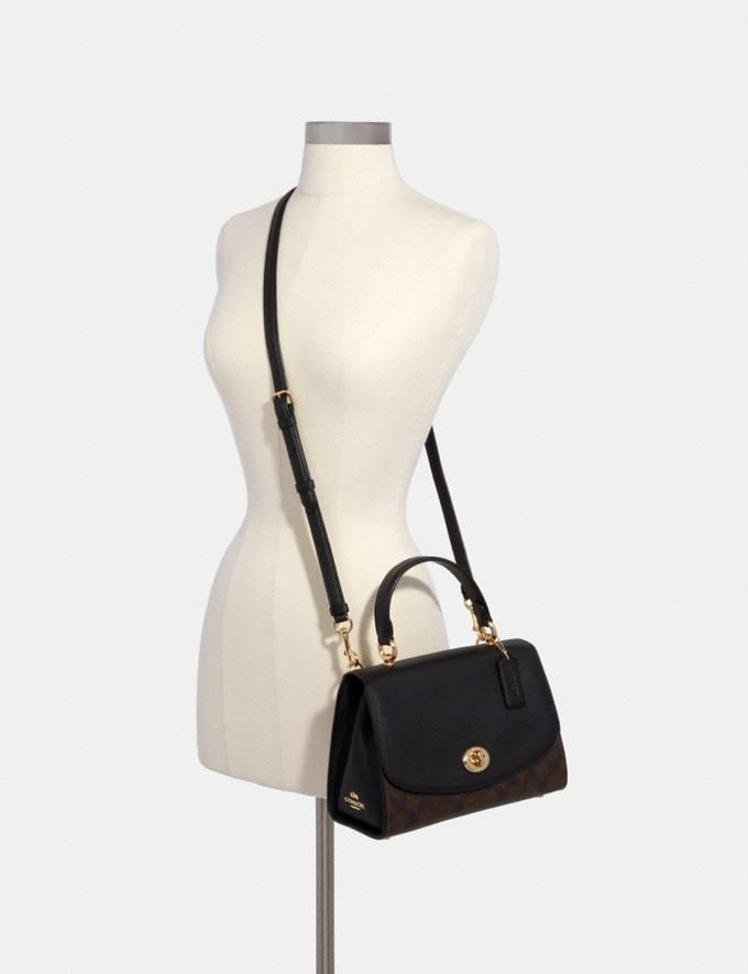 Coach Tilly Top Handle Satchel With Signature Canvas Brown/Black/Gold Women Bags Alternate View 2