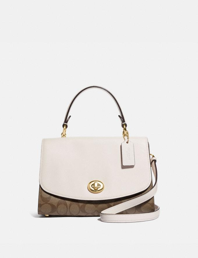 Coach Tilly Top Handle Satchel With Signature Canvas Khaki/Chalk/Gold 70% Off Steals