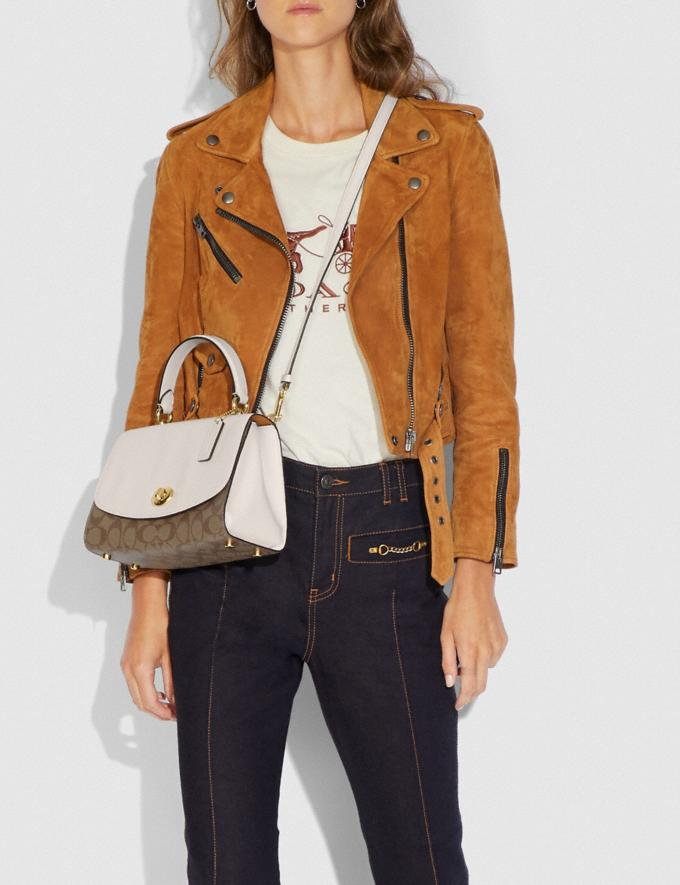 Coach Tilly Top Handle Satchel With Signature Canvas Khaki/Chalk/Gold 70% Off Steals Alternate View 2