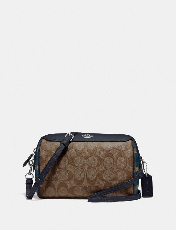Coach Bennett Crossbody in Signature Canvas With Gingham Print Navy Khaki Multi/Silver Clearance Bags