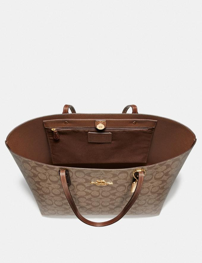 Coach Town Tote in Signature Canvas Brown/Black/Imitation Gold  Alternate View 1