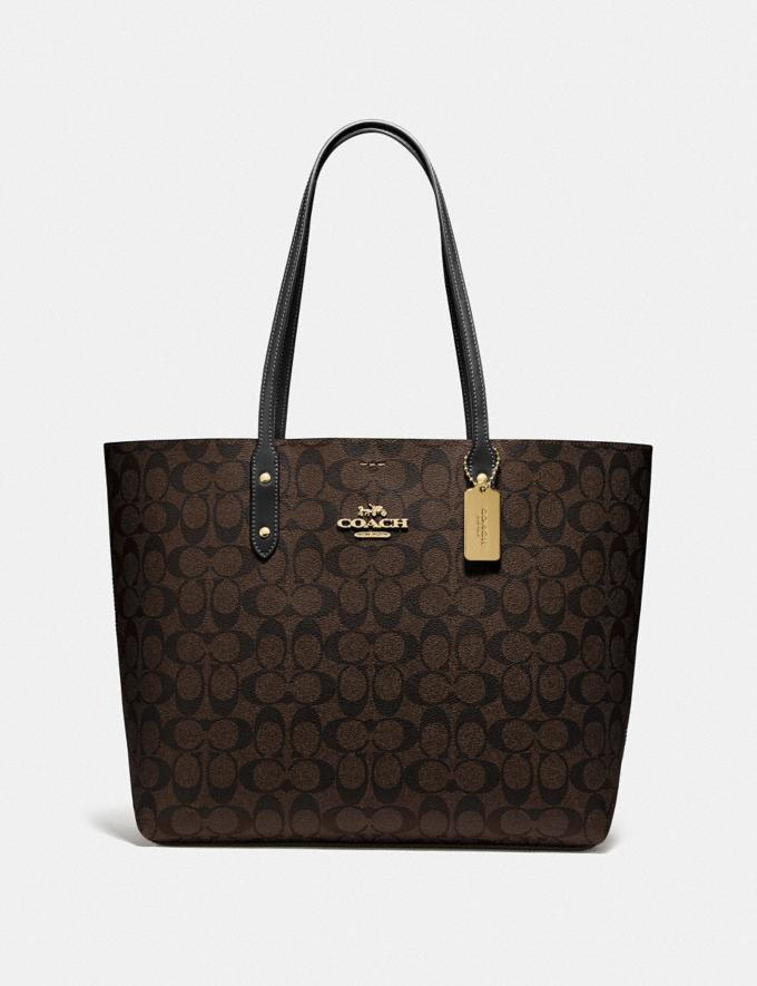 Coach Town Tote in Signature Canvas Brown/Black/Imitation Gold