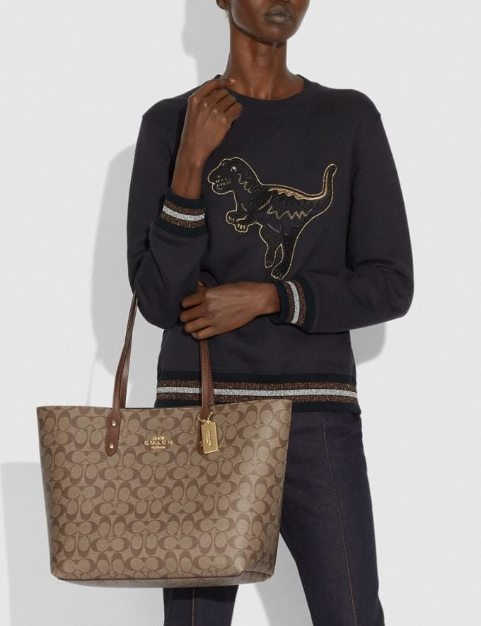 Coach Town Tote in Signature Canvas Khaki/Saddle 2/Imitation Gold Bags Bags Totes Alternate View 2