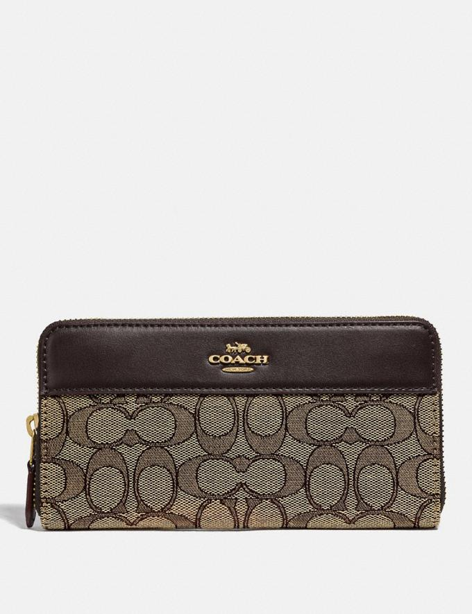 Coach Accordion Zip Wallet in Signature Jacquard With Stripe Im/Khaki/Brown Women Wallets