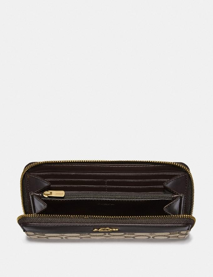 Coach Accordion Zip Wallet in Signature Jacquard With Stripe Im/Khaki/Brown Accessories Alternate View 1