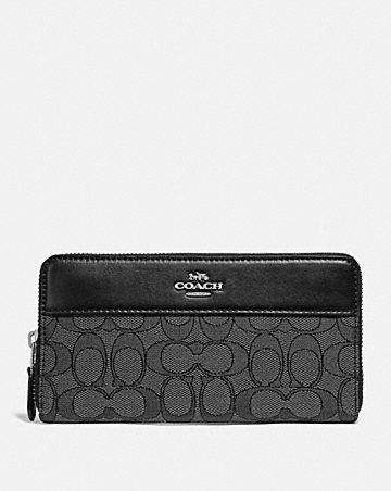accordion zip wallet in signature jacquard with stripe