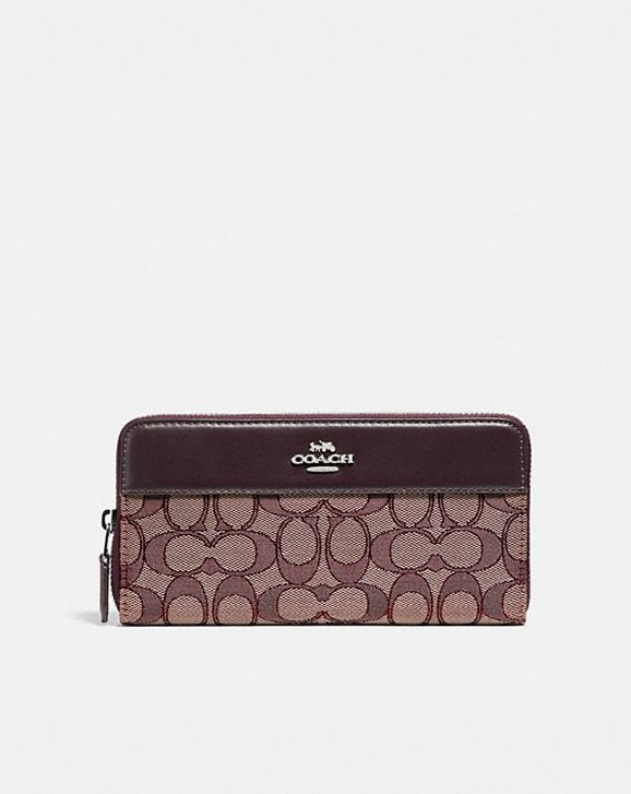 Coach ACCORDION ZIP WALLET IN SIGNATURE JACQUARD WITH STRIPE